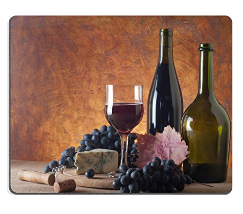 MSD Customized Natural Rubber Mouse Pad Personalized Custom Picture Red wine cheeses and grapes in a still life setup 13338529