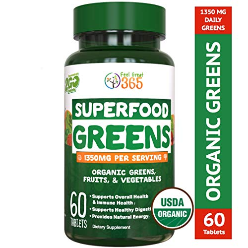 Organic Super Greens Fruit & Vegetable Tablets by Feel Great 365 - Superfood Green Juice Powder Supplement - Increase Energy, Improve Wellness, Alkalize The Body Halal Certified (The Best Green Vegetables)