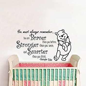amazon com wall decals quotes winnie the pooh quote braver
