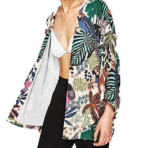 Price comparison product image MOSE New Cardigan Printed blouse for women,  Women Floral Chiffon Kimono Oversized With Fringe Shawls Wraps (Multicolor,  2XL)