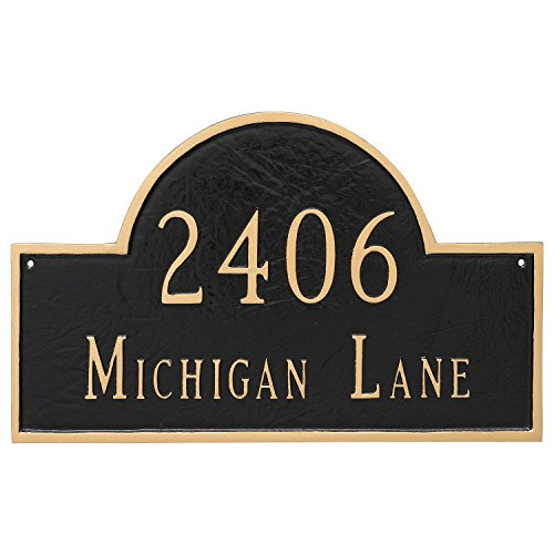 Montague Metal 10.5' x 16.5' Classic Arch Two Line Address Sign Plaque, Standard, Sand/Gold