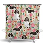 "NiYoung Shower Curtain Decorative Bath Curtain, Bathroom Water-Resistant Bathtub Curtain - English Springer Spaniel, 72"" x 70"" 7"