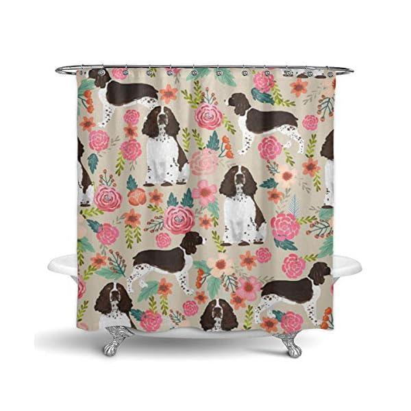 "NiYoung Shower Curtain Decorative Bath Curtain, Bathroom Water-Resistant Bathtub Curtain - English Springer Spaniel, 72"" x 70"" 2"