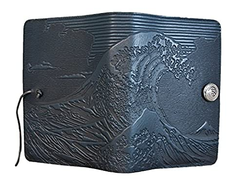 Genuine Leather Refillable Large Notebook Cover for 5.25 x 8.25 Inch Notebooks | Tooled Hokusai Wave Design, Navy with Pewter Button | Made in the USA by Oberon - Oberon Journal