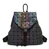 CHENGXIAOXUAN Señoras Japonés Luminoso Mochila Bolso Plegable del Cubo De Rubik Bolso De Rombo De Costura Bolso Que Viaja Bolso Plegable De La Variedad,Luminous-OneSize