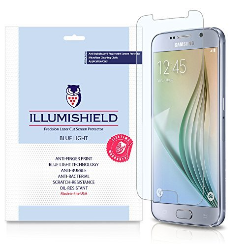 iLLumiShield - Samsung Galaxy S6 Screen Protector with HD Blue Light UV Filter and Lifetime Replacement Warranty / Premium High Definition Clear Film / Reduces Eye Fatigue and Eye Strain - Anti- Fingerprint / Anti-Bubble / Anti-Bacterial Shield - [2-Pack] Retail Packaging