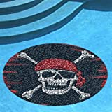Pirate Flag Pool Mat, Pool Art, 59 Inches, Vinyl, Works in Any Pool