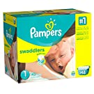 Pampers Swaddlers Newborn Diapers Size 1, 148 Count