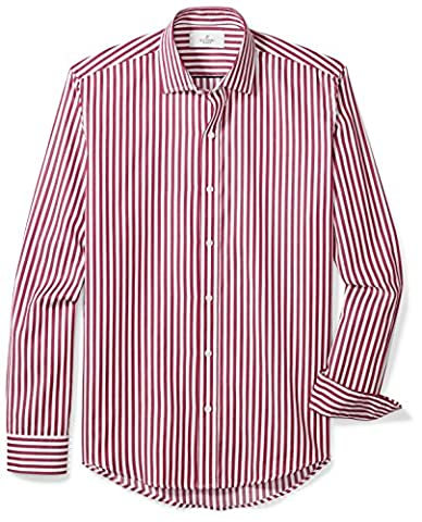Buttoned Down Men's Slim Fit Spread-Collar Sport Shirt, Burgundy/White Large Bengal Stripe, M 32/33 - Casual Stripe Pattern Shirts