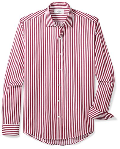 BUTTONED DOWN Men's Slim Fit Supima Cotton Spread-Collar Dress Casual Shirt, Burgundy/White Large Bengal Stripe, L -