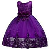 IWEMEK Baby Flower Girls Tulle Lace Princess Dress Big Kids School Girls Communion Ball Gown Dance Pageant Birthday Evening Prom Bridesmaid Wedding Party Dress Sleeveless Knee Length Purple 4-5 Years