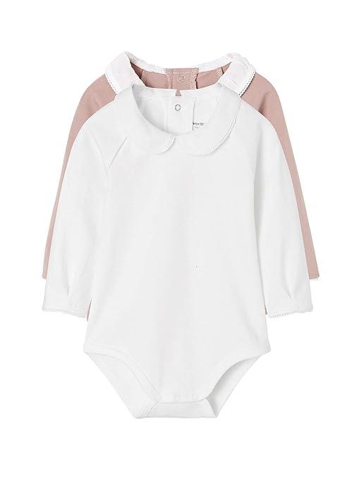 f02163fb6 VERTBAUDET Lote de 2 bodies con cuello Peter Pan para recién nacido Rosa  oscuro liso 36M