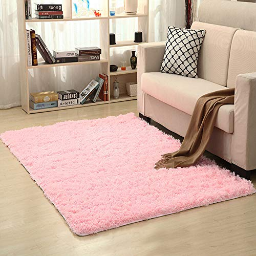 LOCHAS Soft Indoor Modern Area Rugs Fluffy Living Room Carpets Suitable for Children Bedroom Decor Nursery Rugs 4 Feet by 5.3 Feet (Pink)