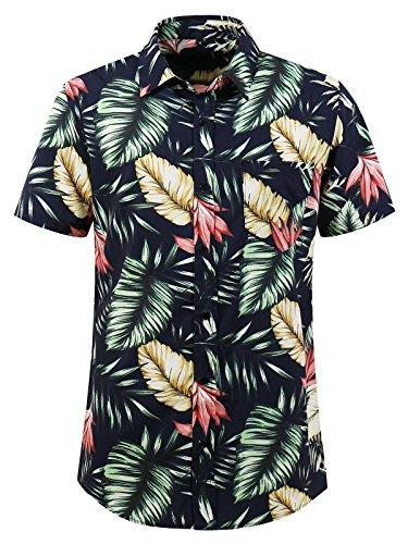 Hopioneer Mens Hawaiian Aloha Flower Short Sleeve Button-Down Shirt