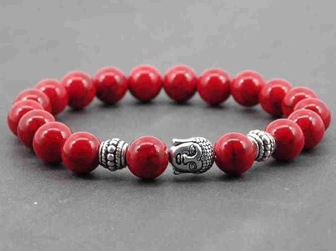 368d640835b7 Pulsera para hombre étnica Zen Thurcolas con cuentas turquesas rojas y  cuentas de Buda tibetano plateado