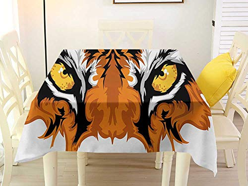L'sWOW Square Tablecloth Protector Eye Tiger Eyes Graphic Mascot Animal Face Bengal Cat African Safari Predator Theme Orange Yellow Black Clamps 70 x 70 Inch ()