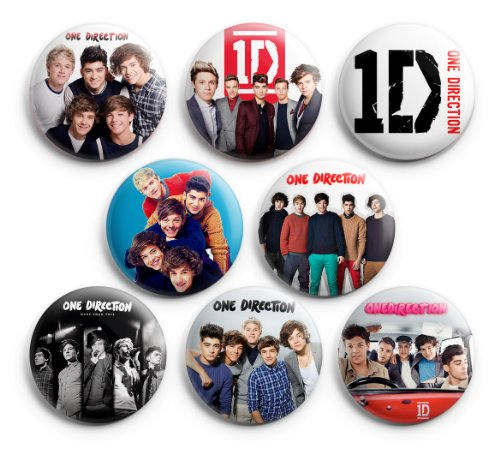 One Direction 1D Pinback Buttons 8Pcs 1.25 inch (One Direction Pinback Buttons)