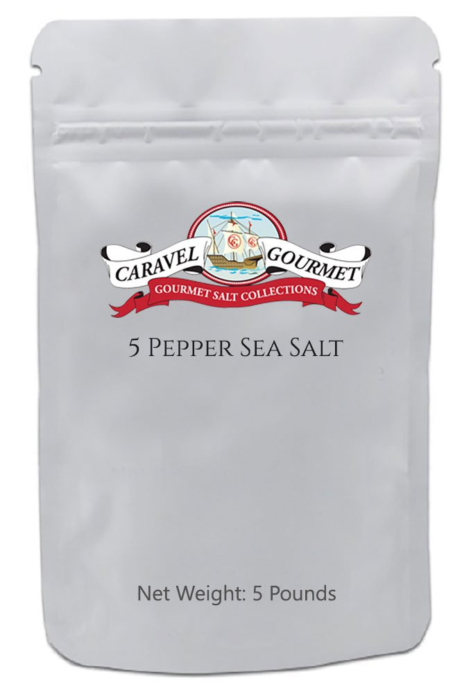 Up to 50% Off Select Infused Sea Salts - Lemon, Lime, Rosemary, Garlic, Ginger - All-Natural -Diet-Friendly, Delicious Ways to Add Flavor to your Cooking 1 5 PEPPER SEA SALT: The combination of fine grain natural sea salt with five time-tested, chef-approved peppers creates an amazing flavorful experience. Excellent for seasoning meats, salads, eggs, burgers, fish and potatoes. If you like to salt and pepper your foods, you're going to love this infused salt. Use for cooking, rubs, and toppings on all of your favorite foods. CLEAN, SIMPLE, DELICIOUS INGREDIENTS: This gourmet blend contains only six pure ingredients: natural sea salt, and five exotic peppers: telicherry, allspice, and pink, green, and white peppercorns. That's it. This amazing condiment is one of our favorite spice blends and adds peppery, salty spice to every meal. MORE FLAVOR, LESS SODIUM: All-Natural Sea Salts are superior to common table salt, since they contain more dynamic flavor, so you use less salt. There's no harsh bleaching, processing or anti-caking agents. Try any of our sea salts and you'll notice a big difference in flavor. And if you are watching your sodium or you're on a diet, more flavor means you can use less, and lower your overall sodium intake.
