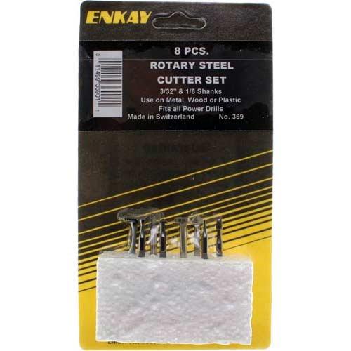Enkay 369 Rotary Steel Cutter Set, Carded, 8-Piece
