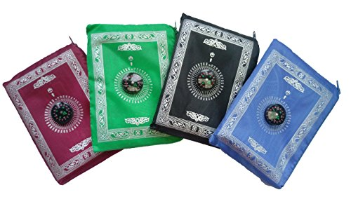 Prayer Rug Mat - Actopus 4PCS Portable Waterproof Muslim Prayer Mat Light Prayer Rug with Compass Muslim Prayer Rug Qibla Finder Booklet
