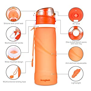 Jerrybox Collapsible Water Bottle - 750ml, Silica Gel, Medical Grade, BPA Free, FDA Approved, Leak Proof Silicone Foldable Sports Bottle, for Sport, Outdoor, Travel, Camping, Picnic(26 oz, Orange)