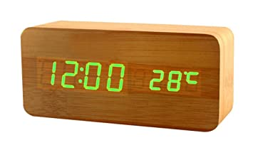 Moderner Wecker amazon de yisidoo moderne led digitaluhr holz wecker bambus holz