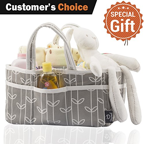 Baby Diaper Caddy Organizer Grey-Bag – Upgraded 10-Pocket Extra Large for Baby Accessories – Adjustable Inner, Self Standing Basket, Portable Travel Station – 100% Cotton, Includes Free Bottle Brush