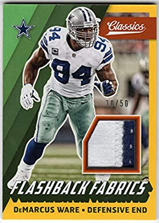DeMarcus Ware 2017 Panini Classics Flashback Fabrics 2 Color Jersey Patch  Card Serial  30  24d4fc135