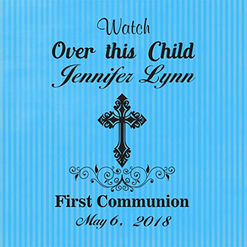 (Personalized Custom Text First Communion Watch Over This Child. Aluminum Metal Sign, Light Blue 12