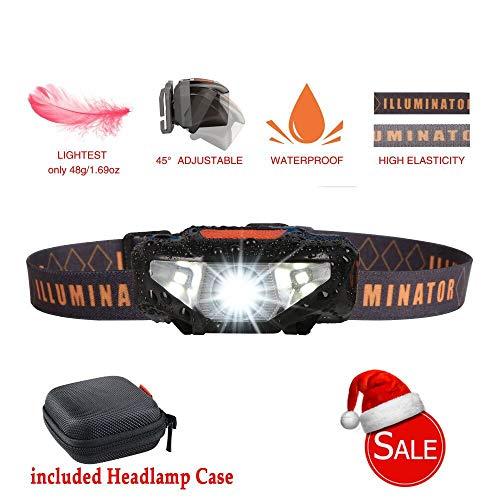 Mini LED Headlamp Flashlight with Case,Waterproof Sport Headlight,Bright Running Head Lamp,Best for Runner, Night Jogging,Hiking,Biking,Camping,Reading,Dog Walking,Kids,Only 1.6oz/48g(NO AA Battery) ()