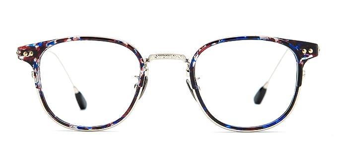 TIJN Blue Light Blocking Glasses Computer Eyeglasses Oval Metal Thin Optical Frame
