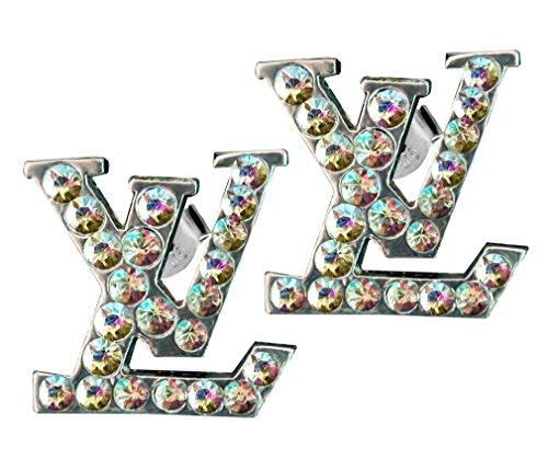 L-V 18K White Gold Plated Vintage CZ Crystal Studs Earrings/Pendant or Set for Women/Girls
