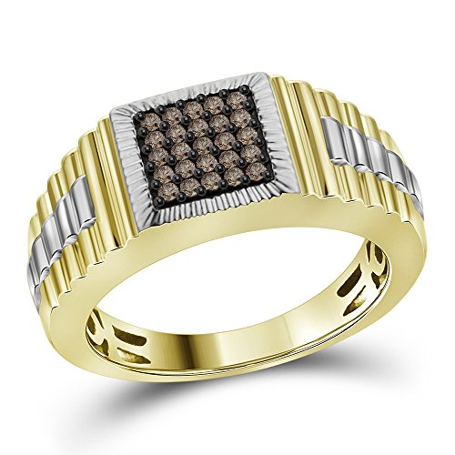 10k White Yellow Gold Square Brown Diamond Fashion Ring Watch Style Band Designer Style Two Tone 1/4 ctw Size (Designer Two Tone Diamond Band)