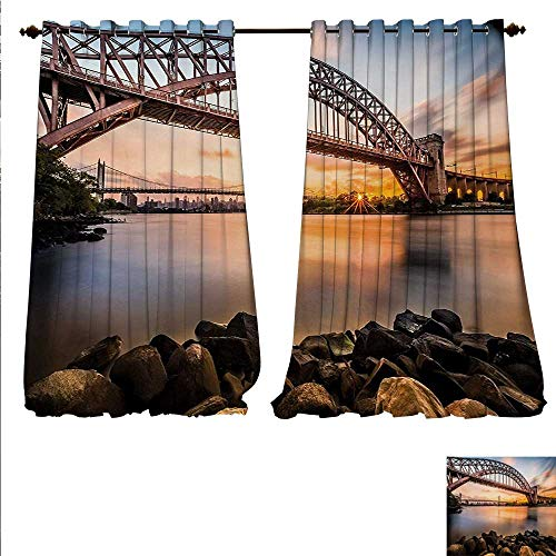 (familytaste Customized Curtains Sunset Evening View Picture Hell Gate and Triboro Bridge Astoria Queens America Thermal Insulating Blackout Curtain W84 x L84 Brown Blue.jpg)