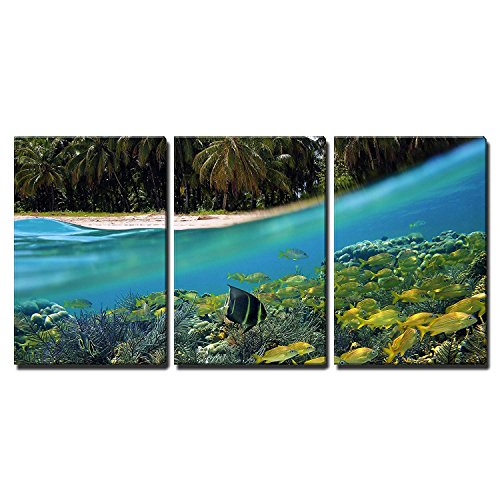 wall26 - 3 Piece Canvas Wall Art - Surface and Underwater View with Beach, Coconuts Trees and School of Fish in Coral, Panama - Modern Home Decor Stretched and Framed ()