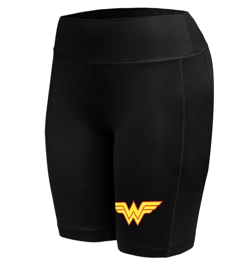 Sysuser Women's Wonder Woman Mid Thigh Yoga Workout Legging Shorts