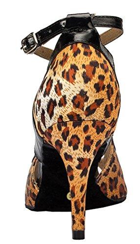 Abby Yfyc-l067 Femmes Latin Tango Salle De Bal Talon Moyen Professionnel Chaussures De Danse Satin Sexy Léopard