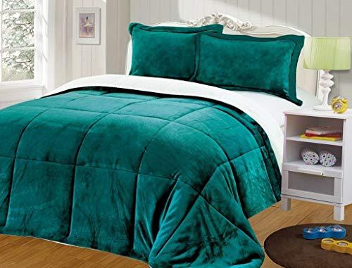 Kaputar 3-Piece Teal Micro-Mink Sherpa Down Alternative Comforter | Model CMFRTRSTS - 8189 | King