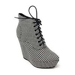 Women's Island Black and White Checkered Lace-Up Wedge Bootie