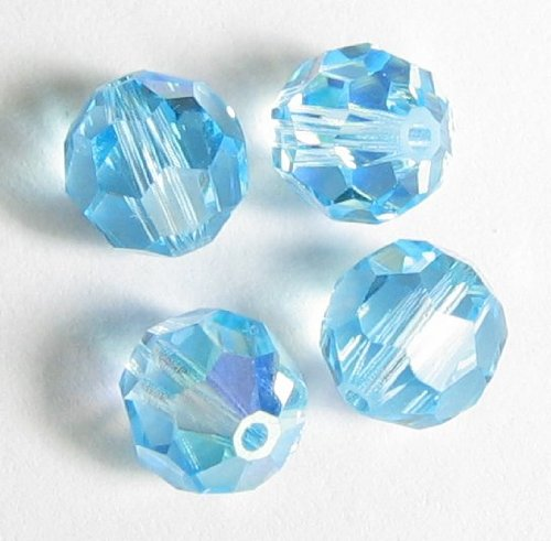 Faceted Round Swarovski Crystal Bead - 12 pcs Swarovski Crystal 5000 Round Faceted Bead Aquamarine AB 4mm / Findings / Crystallized Element