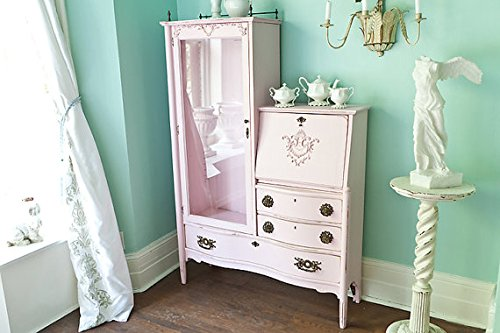 Custom Order Antique Pink Shabby Chic Dresser Desk Secretary Curio Victorian Distressed Cottage Office - Victorian Secretary