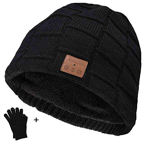 Bluetooth Beanie Hat with Warm Gloves Wireless Bluetooth Hat Knitted Music Cap with Headphones Stereo Speaker V4.2 for Running Outdoor Sports (Black)