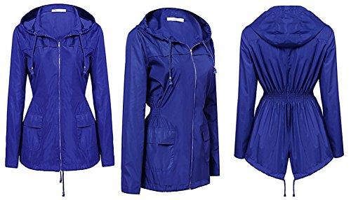 HENCY Veste De Pluie Femme Impermable Casual Femme Manteau Impermable Manches Longues Bleu