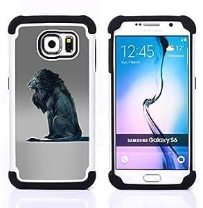 BullDog Case - FOR/Samsung Galaxy S6 G9200 / - / LION BLUE KING ABSTRACT GREY KING /- H??brido Heavy Duty caja del tel??fono protector din??mico - silicona suave