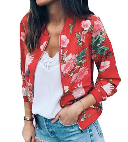 Jacket Printed Fit Regular Red Boyfriend Flower AngelSpace Women's Jersey zqxfvz0