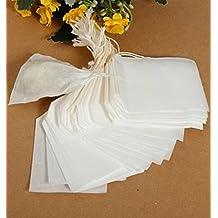 Namivad 100pcs Empty Disposable Teabags Drawstring Paper Filter Heat Seal Tea Bags for Loose Leaf Herbal Tea