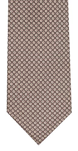 Marmo Di Carrara Silk Print Neckties - Variety of Colors (Dark Taupe w/Light Taupe Circle Design)