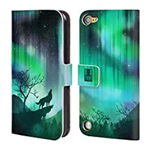 Head Case Designs Green Howling Wolf Northern Lights Leather Book Wallet Case Cover For iPod Touch 5th Gen / 6th Gen