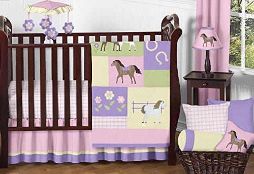 (Sweet Jojo Designs 11-Piece Pretty Pony Horse Western Baby Girl Bedding Crib Set Without Bumper )