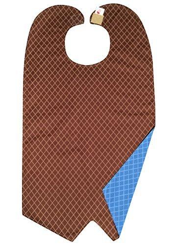 Brown/Blue Diamonds Plaid Adult Bib - Tuxedo Cut - Reversible ()